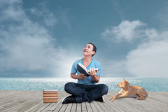 Man With Book Concept Part 1 ,Reading With My Best Friend Stock Photos