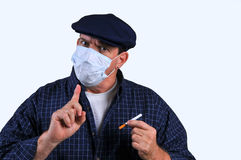 Man With Breathing Mask Royalty Free Stock Photography