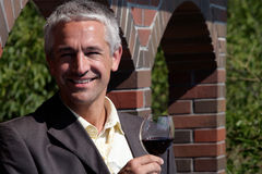 Man With Glass Of Red Wine Royalty Free Stock Image