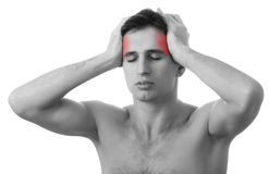 Man With Headache On White Background Royalty Free Stock Images