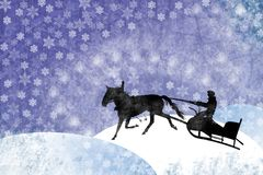Man With Horse Drawn Sled On A Winter Snowflackes Royalty Free Stock Photography