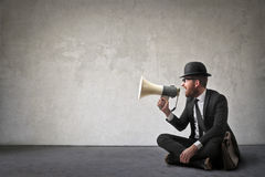 Free Man With Loudspeaker Royalty Free Stock Photography - 71280937