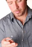 Man With Mp3 Player Stock Images