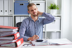 Free Man With Pain Of The Cervical Royalty Free Stock Photo - 62385055