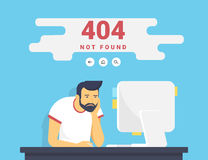 Free Man With Pc Sitting At Home 404 Page Not Found Error Royalty Free Stock Image - 90726476