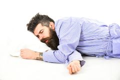 Free Man With Relaxed Face, Opened Mouth, Lay On Pillow Royalty Free Stock Photo - 117789815