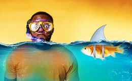 Free Man With Snorkeling Mask Is Scared To Go Underwater. Yellow Background Stock Images - 214775334