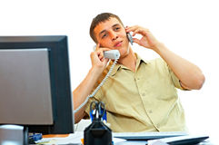 Free Man With Telephone Royalty Free Stock Photography - 5362917