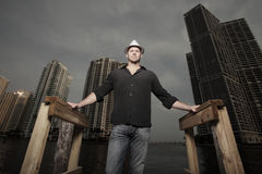 Man With The City In The Background Royalty Free Stock Images