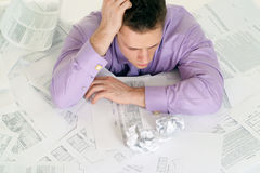 Man With Troubles At Work Stock Photos