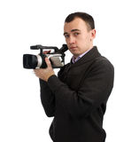 Man With Video Camera Royalty Free Stock Photography