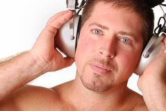 Man With Vintage Headphones Royalty Free Stock Image