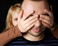 Man and woman. She closed her eyes man Stock Photo