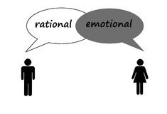 Man and woman. Rational versus emotional (sometimes Royalty Free Stock Photos