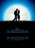 Man and Woman. On Moon background, illustration Stock Image