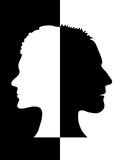 Man-woman. Black and white illustration of the profiles of a man and a woman stock illustration