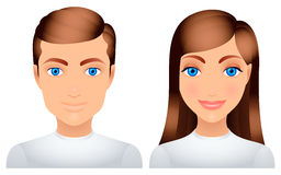 Man and woman. Cartoon man and woman in white clothes Royalty Free Stock Image
