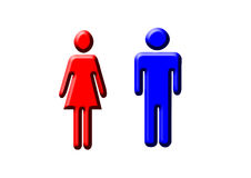 Man and Woman. A blue and red pictogram of a man and a woman Royalty Free Stock Photo