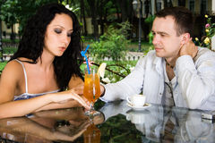 The man and the woman. Drink wine at restaurant Royalty Free Stock Image