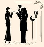 Man and woman. Retro man and woman are meeting in the street Royalty Free Stock Image