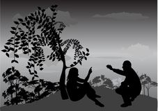 Man and woman. Talking on the mountain stock illustration