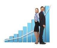 Man and woman with 3d graph Stock Photo