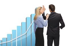 Man and woman with 3d graph Royalty Free Stock Images