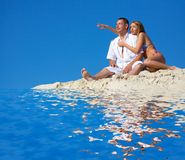 Man and woman. On rest at the sea royalty free stock images