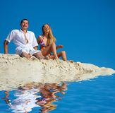 Man and woman. On rest at the sea Stock Photography