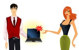 Man and woman advertise laptop. Beautiful man and woman advertise laptop Royalty Free Stock Photography