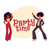 Man, woman with afro hair in 1970s clothes dancing disco Royalty Free Stock Images