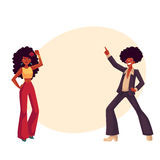 Man, woman with afro hair in 1970s clothes dancing disco Stock Photo