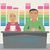 A man and a woman are anchors on the telecast in the studio. TV show with 2 anchor mans on tv channel. Royalty Free Stock Image