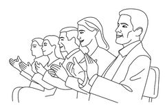 Man and woman applause. Vector black and white illustration.  royalty free illustration