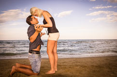 Man and woman arguing on the beach Royalty Free Stock Photo