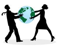 Man and woman arguing the planet earth Stock Photography