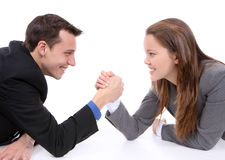 Man and Woman Arm Wrestling Royalty Free Stock Photography
