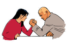 Man and woman arm wrestling. Stock Image