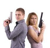 Man and woman with arms Royalty Free Stock Photo