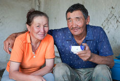 A man and a woman of Asian appearance have tea Royalty Free Stock Photos