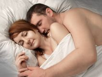 Man and woman asleep Royalty Free Stock Photo