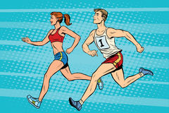 Man woman athletes running track and field summer games. Pop art retro style. A sporting event. Marathon or sprint Royalty Free Stock Image
