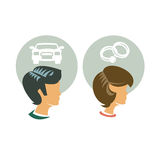Man and Woman. Authors illustration in vector Stock Photo
