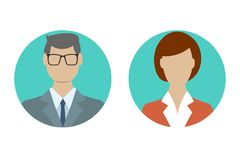 Man and woman avatar profile in flat design. Male and Female face icon. Vector illustration vector illustration