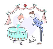 Man and woman at the ball dressed up doing reverences. Vector illustration eps 10 stock illustration
