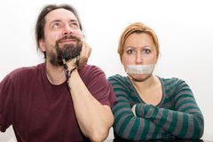 Man and woman with ban on speaking Royalty Free Stock Photos