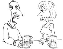 Man and woman in bar. Cartoon of a man and woman talking in a bar Stock Photo