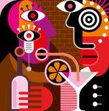 Man and woman at the bar - vector illustration. Royalty Free Stock Photos