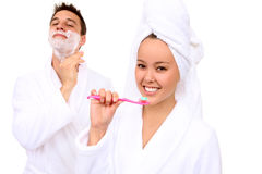Man and Woman in Bathroom Royalty Free Stock Images