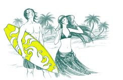 Man and woman on the beach. Handdrawn illustration of young woman and man with surfboard on the tropic sea beach Stock Photo